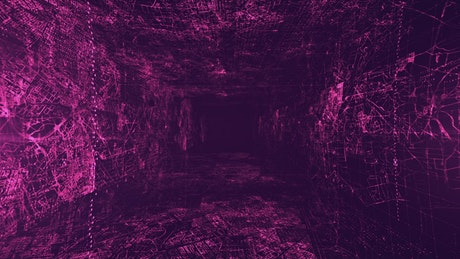 Abstract virtual reality dark tunnel