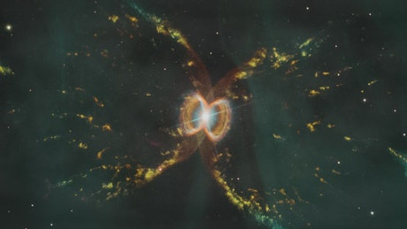 Abstract yellow nebula shapes in space