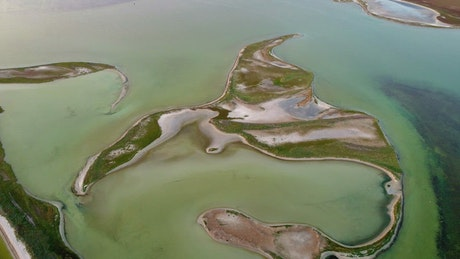 Abstracts islands in a beautiful lake, aerial