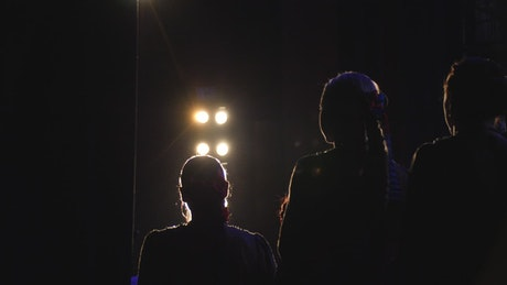 Actors silhouetted against a stage light