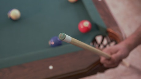 Adding chalk to a pool cue