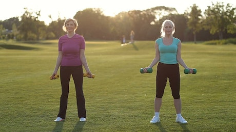 Adult women exercising with dumbbells