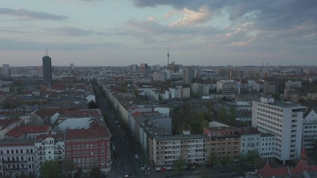 Aerial cityscape of Berlin city on a dark day