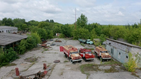 Aerial footage of an abandoned workshop