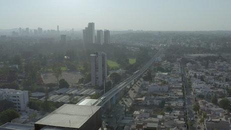 Aerial landscape of a huge city