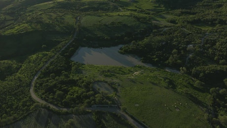 Aerial look at a natural landscape on a sunny day