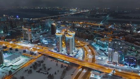 Aerial night timelapse of Russian city