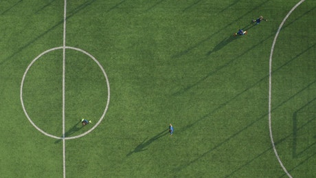 Aerial overhead view of a small soccer court