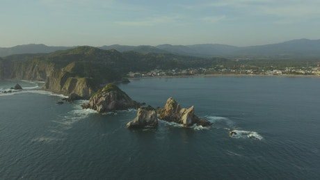 Aerial panorama of a coast and its reliefs