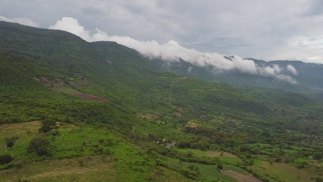Aerial panorama over a mountainous relief full of vegetation