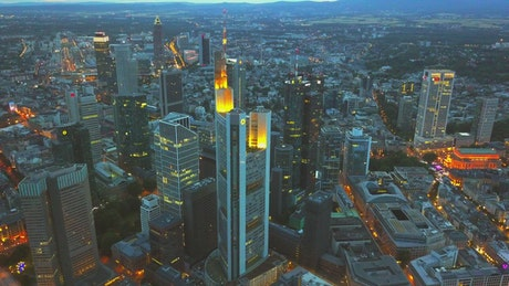 Aerial shot at dusk of the city of Frankfurt