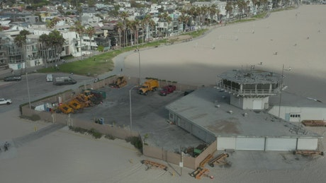 Aerial shot of a beach area of VolleyBall courts