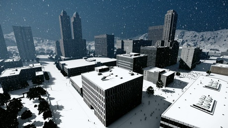 Aerial shot of a city in winter, 3D animation