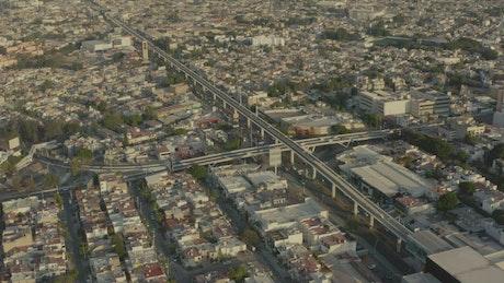 Aerial shot of a city train