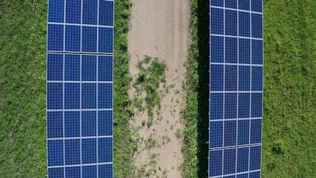 Aerial shot of a solar array