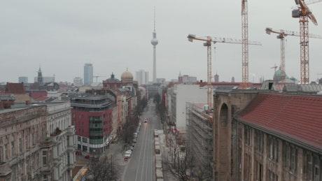 Aerial shot of an empty avenue in Berlin