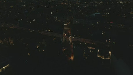 Aerial shot of an empty city at night