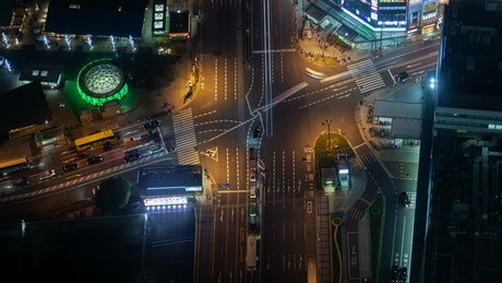 Aerial shot of an intersection in a big city