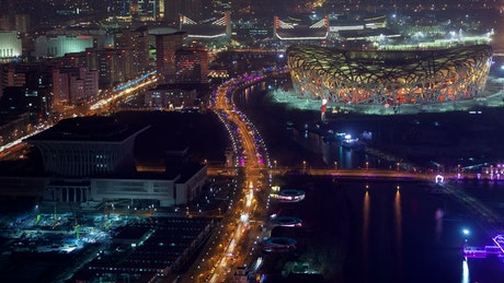Aerial shot of Beijing at night