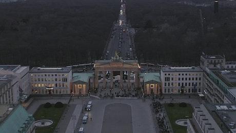 Aerial shot of Brandenburger Tor in Berlin
