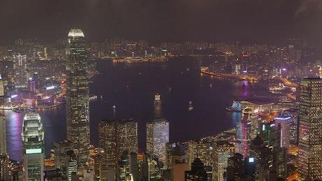 Aerial shot of Hong Kong harbor at night