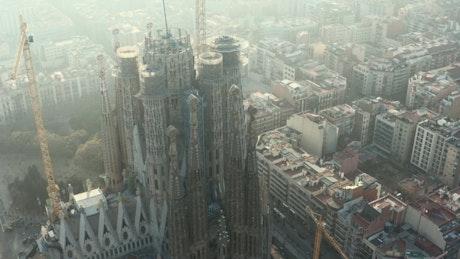 Aerial shot of La Sagrada Familia in Spain