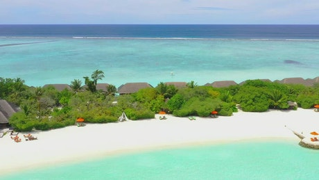 Aerial shot of luxury island