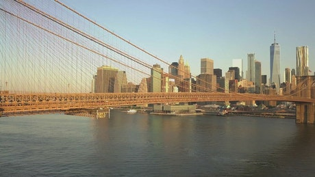 Aerial shot of the Brooklyn bridge and the city