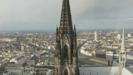 Aerial shot of the Cologne Cathedral Two Brown Towers
