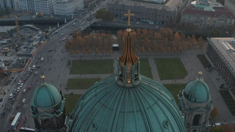 Aerial shot of the dome of a cathedral in Germany