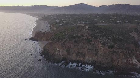 Aerial shot of the Malibu coast in California