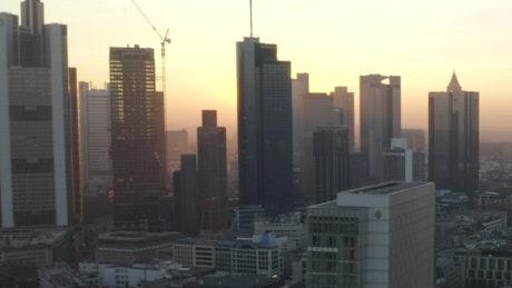 Aerial shot on Frankfurt at sunrise