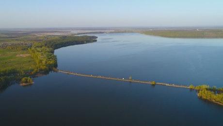 Aerial shot over a big river in Ukraine