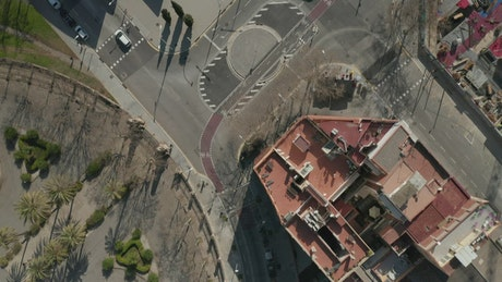 Aerial top shot of Barcelona, close up