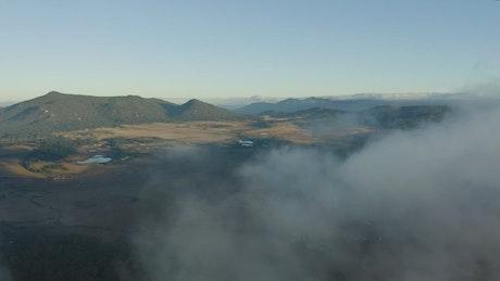 Aerial tour above a natural landscape