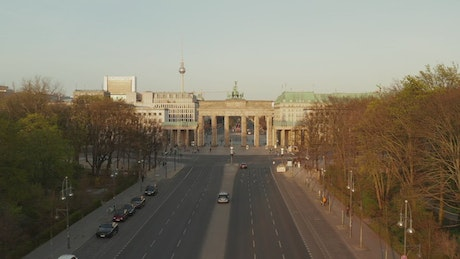 Aerial tour of an empty German avenue