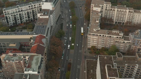 Aerial tour over a typical German main avenue