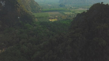 Aerial view of a beautiful green landscape full of relief