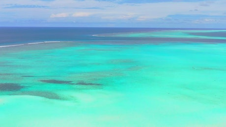 Aerial view of a beauty turquoise blue sea