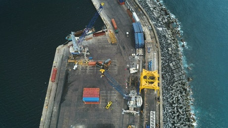 Aerial view of a cargo port
