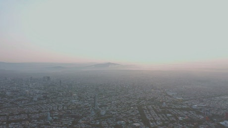Aerial view of a city during the morning