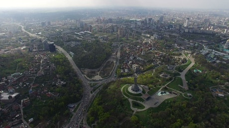 Aerial view of a city with parks