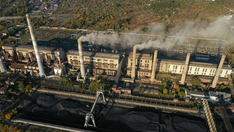 Aerial view of a coal power plant