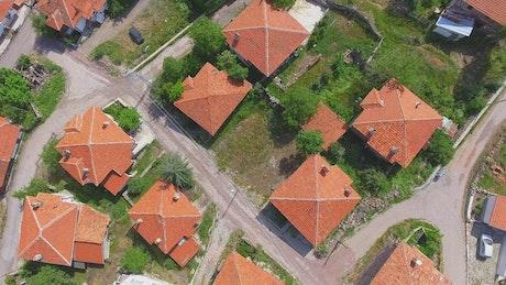 Aerial view of a cute town