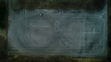 Aerial view of a drifting car