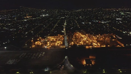 Aerial view of a factory at night time