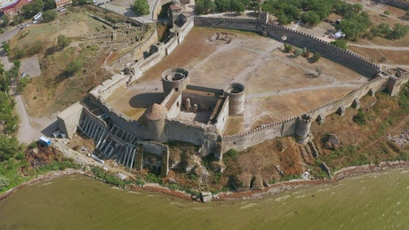 Aerial view of a fortress by the ocean