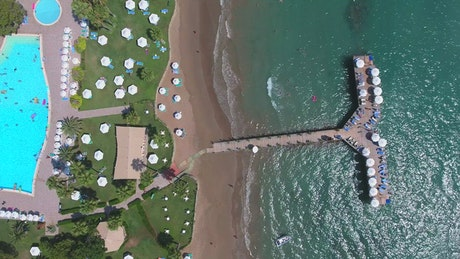 Aerial view of a hotel by the ocean