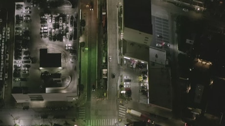 Aerial view of a large avenue in a city at night