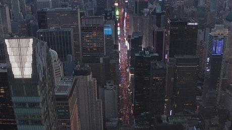 Aerial view of a long avenue crossing Manhattan